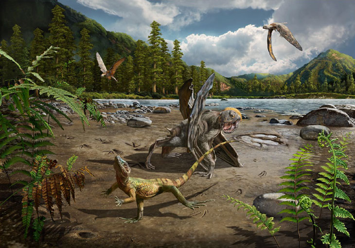 CHASE SCENE Lizards may have run from the jaws of predatory pterosaurs in the swamp and lake environment where Sauripes hadongensis tracks were found, as in this illustration.