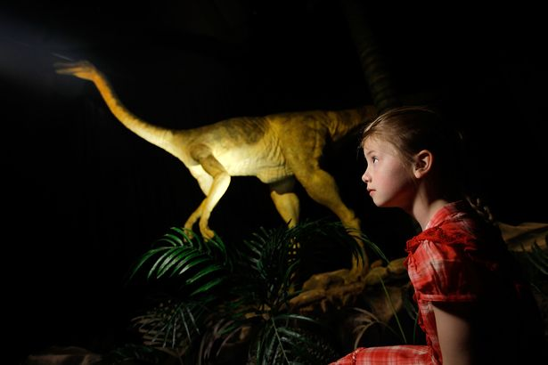Adele Clark, aged 8, looks at an animatronic Gallimimus dinosaur at the Natural History Museum. People flock from around the world to see the museum's dinosaur exhibits but few significant dinosaur finds have actually been made in London itself