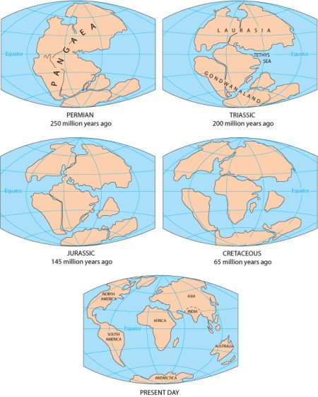 The breakup of the Pangaea supercontinent. Credit: U.S. Geological Survey