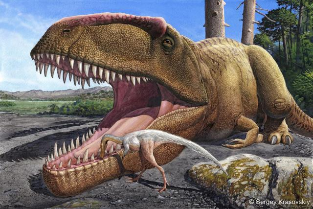 A Giganotosaurus getting its teeth cleaned (Sergey Krasovskiy).