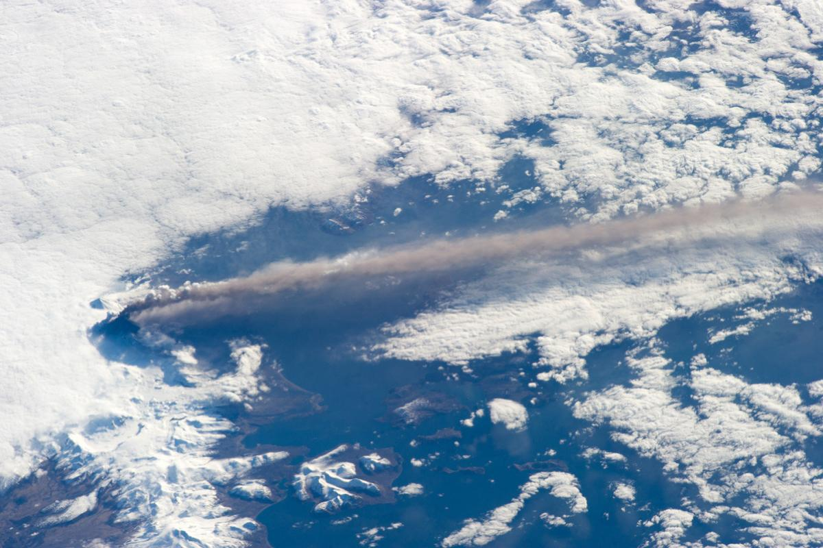 The eruption of Alaska's Pavlof Volcano as seen from the International Space Station May 18, 2013. The volcano's ash cloud rose to 20,000 feet and extended over hundreds of miles of the northern Pacific Ocean. Credit: NASA/ISS Crew Earth Observations experiment and Image Science and Analysis Laboratory, Johnson Space Center