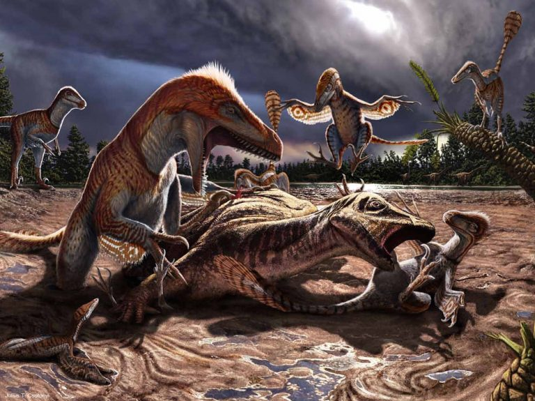Pack of Utahraptors atacking an Iguanodon
