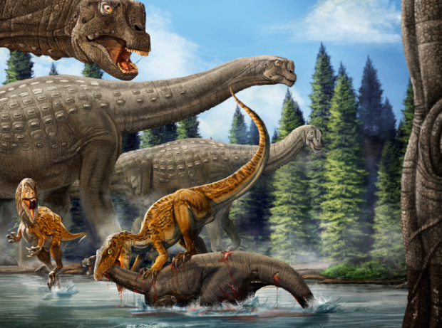 An illustration of ancient Australia. The Australovenator attacks a young Diamantinasaurus. (Image: Xing Lida)