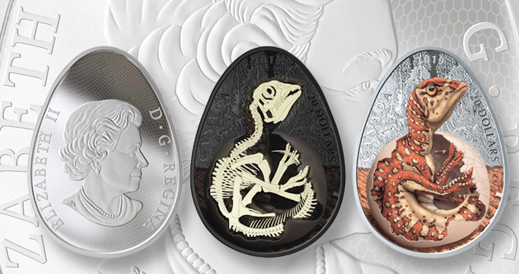 Proof 2019 .9999 fine silver $20 coin depicts a hatching duckbill (Hypacrosaurus stebingeri).  Images courtesy of the Royal Canadian Mint.