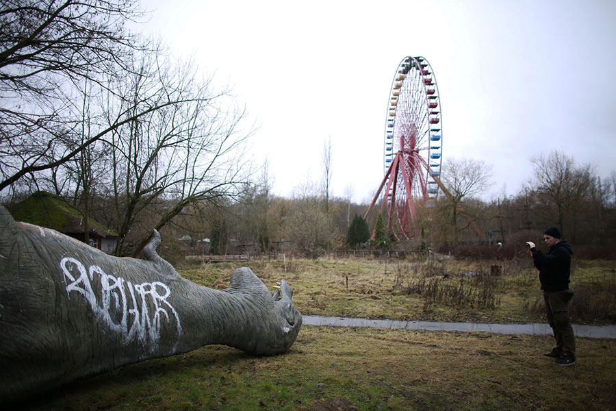 A man takes a photograph of a fiberglass model of a dinosaur at the abandoned Plänterwald amusement park in Berlin on January 5, 2013. #  Reuters
