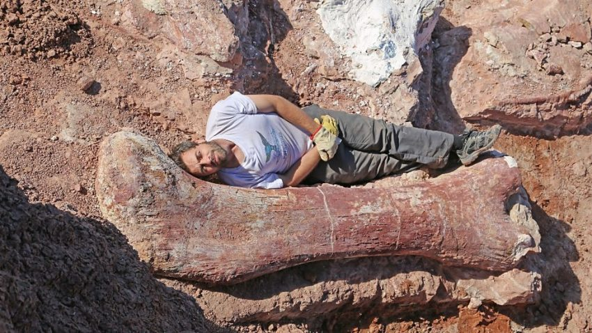 Diego Pol lying by large femur thigh bone fossil of the new titanosaur find, April 2015