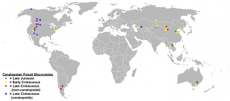 Ceratopsian fossil discoveries. The presence of Jurassic ceratopsians only in Asia indicates an Asian origin for the group, while the more derived ceratopsids occur only in North America save for one Asian species. Questionable remains are indicated with question marks. By Sheep81