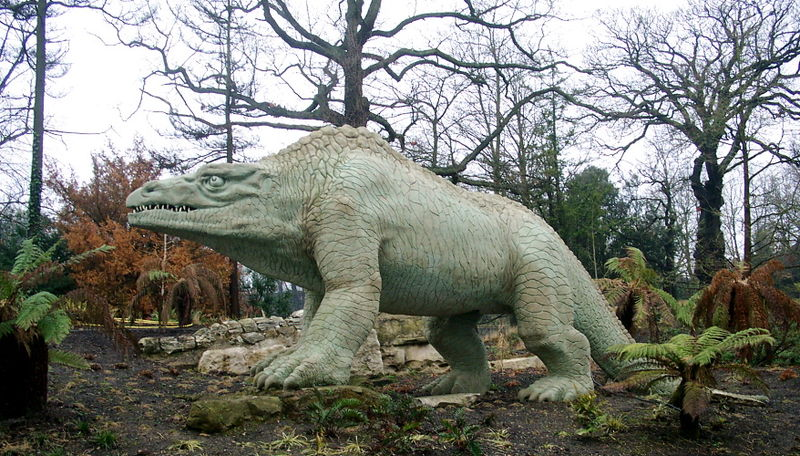1854 reconstruction in Crystal Palace Park guided by Richard Owen presents Megalosaurus as a quadruped; modern reconstructions make it bipedal, like most theropods