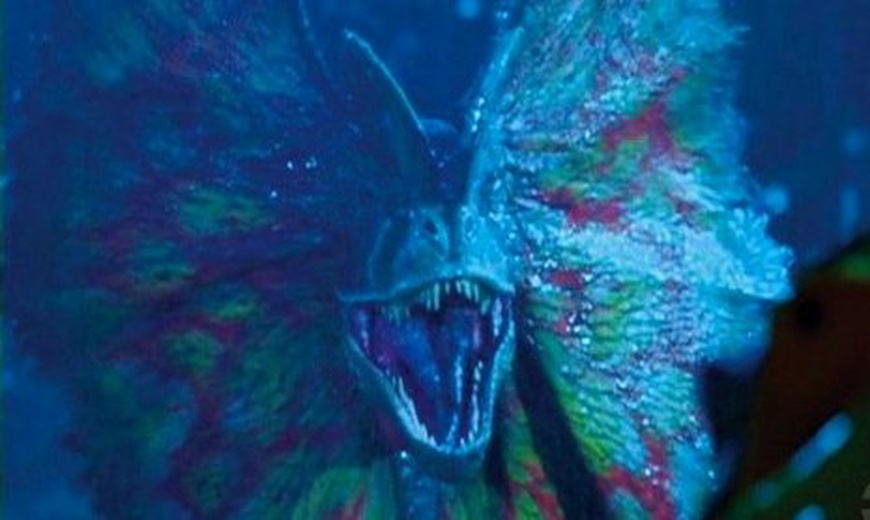 "A Dilophosaurus in ""Jurassic Park."" Universal via YouTube"