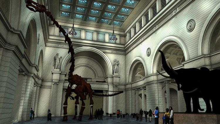 A Field Museum rendering of what its new titanosaur skeleton will look like in Stanley Field Hall. (Field Museum)