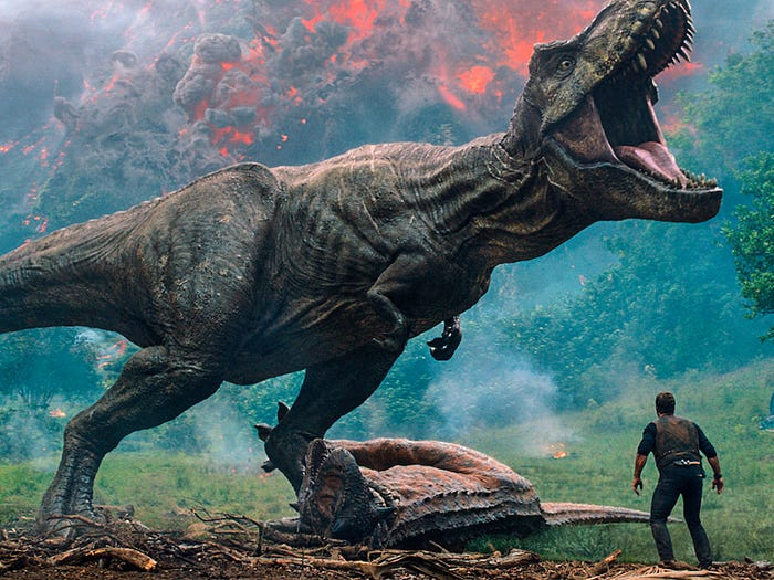 A Tyrannosaurus rex from the 2018 movie Jurassic World Fallen Kingdom. Universal Pictures via Associated Press