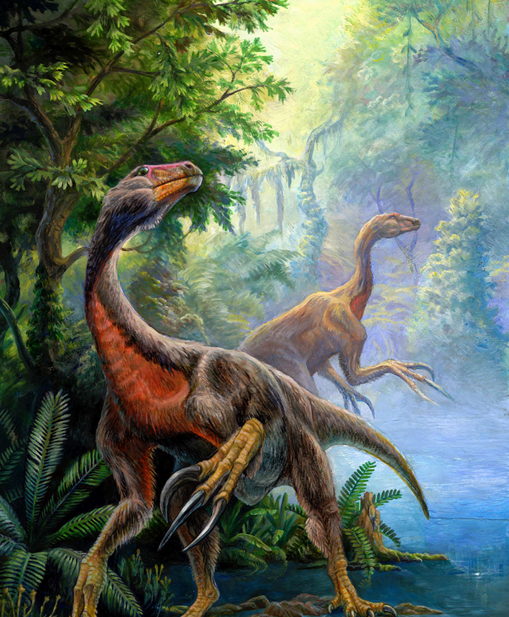 A pair of Beipiaosaurus dinosaurs. Image credit: Pavel Riha / CC BY-SA 3.0.
