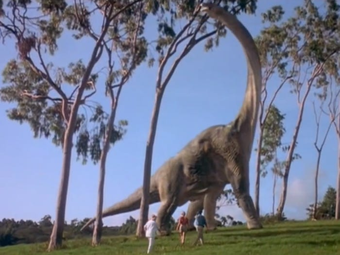 "A sauropod dinosaur in the movie ""Jurassic Park."" Jurassic park"
