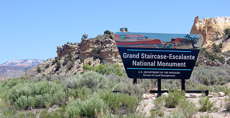 A sign marks the monument's northern boundary along Scenic Byway 12. Photo by Phil Taylor.