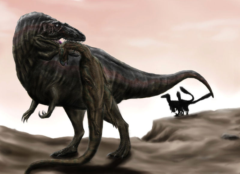 Acrocanthosaurus carrying a Tenontosaurus carcass away from a pair of Deinonychus