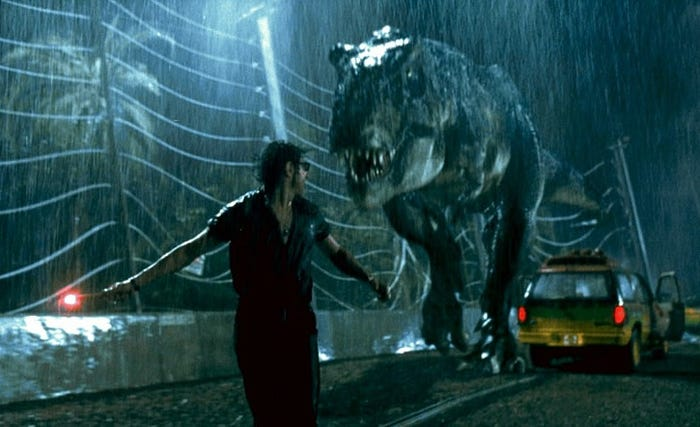 "An oncoming T. rex in the 1993 film ""Jurassic Park."" ""Jurassic Park"""