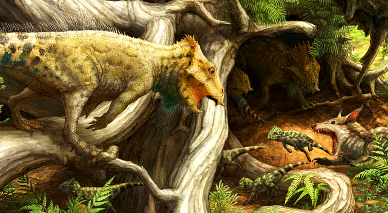 Reconstruction of Aquilops americanus in its environment. Image credit: Brian Engh / Raymond M. Alf Museum of Paleontology.