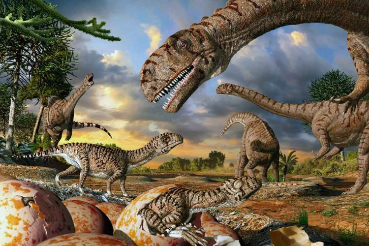 Artist interpretation shows 190-million-year-old nests, eggs, hatchlings and adults of the prosauropod dinosaur Massospondylus in Golden Gate Highlands National Park, South Africa (image credit: Julius Csotonyi)