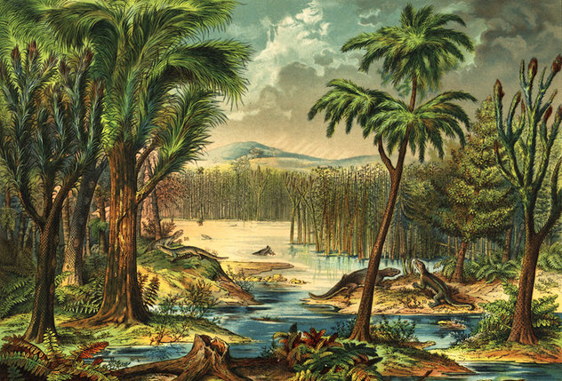 Artist's recreation of a forest during the Carboniferous period |Mark Ryan