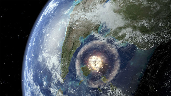 Artist's depiction of a large asteroid impact. JOE TUCCIARONE/SCIENCE SOURCE