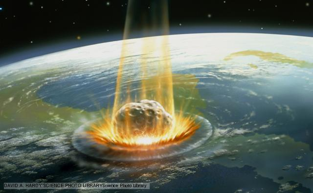 Asteroid impact. Illustration of a large asteroid colliding with Earth on the Yucatan Peninsula in Mexico. This impact is believed to have led to the death of the dinosaurs some 65 million years ago. The impact formed the Chicxulub crater, which is around 200 kilometres wide. The impact would have thrown trillions of tons of dust into the atmosphere, cooling the Earth's climate significantly, which may have been responsible for the mass extinction. A layer of iridium- rich rock, known as the K/T boundary, is thought to be the remnants of the impact debris.