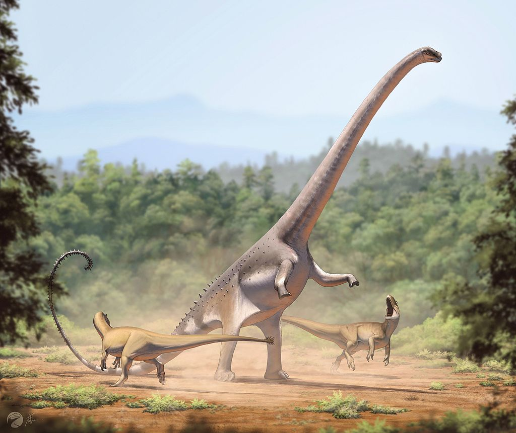 Life reconstruction of an individual rearing up to defend itself against a pair of Allosaurus