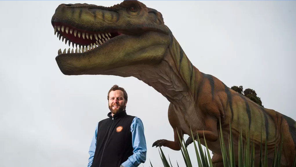 Ben Wardle is excited to announce the new T-Rex model at the popular National Dinosaur Museum.  Photo: Dion Georgopoulos
