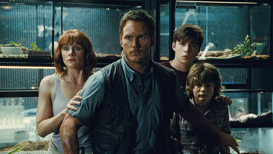 Bryce Dallas Howard, Chris Pratt, Nick Robinson and Ty Simpkins in 'Jurassic World'. (Credit: Universal)