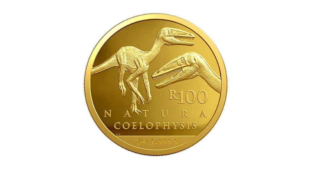The 1oz R100 coin features the Coelophysidae which were highly successful primitive theropod dinosaurs that lived worldwide from the late Triassic to early Jurassic. Coelophysis rhodesiensis, a small, agile dinosaur which preyed on small animals, inhabited South Africa and Zimbabwe during the early part of the Jurassic period. This slenderly built, bipedal dinosaur grew up to 3 m long and weighed about 32 kg.
