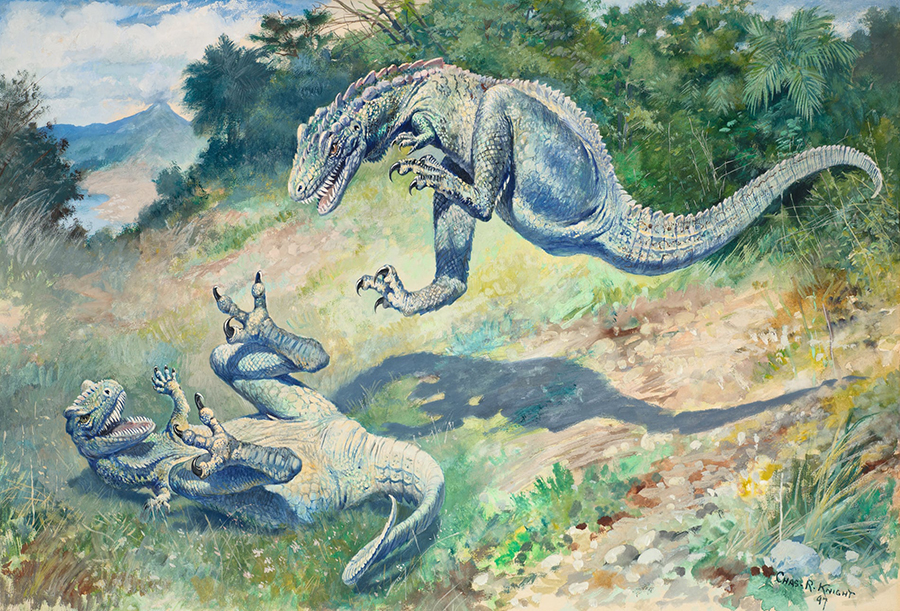 Charles R. Knight was one of the foremost American paleoartists. These predators likely represent paleontologists Othniel C. Marsh and Edward Drinker Cope, whose savage competition defined early American paleontology. Illustration: Craig Chesek/Courtesy of Taschen