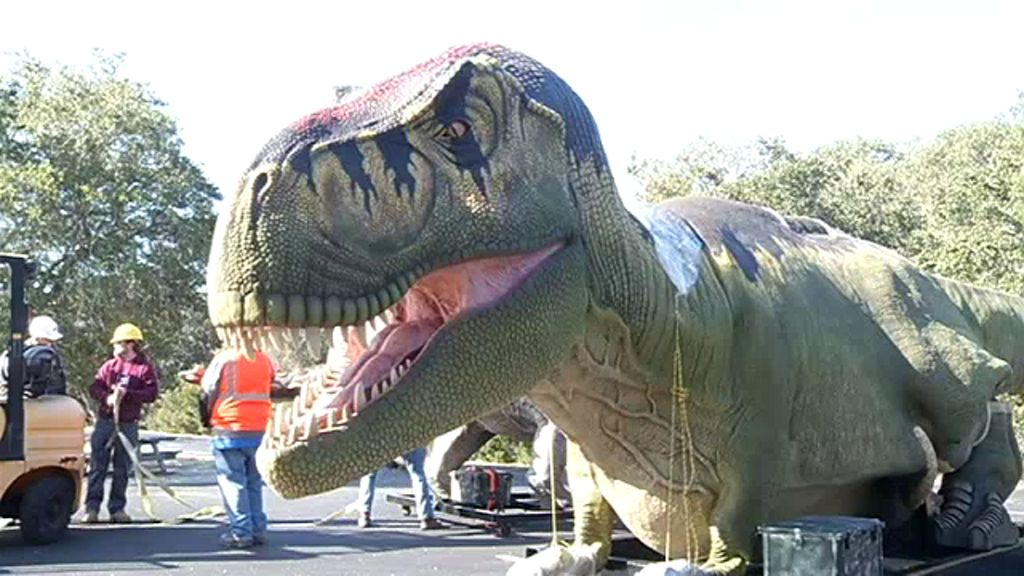 Crews installed a new 19-foot Tyrannosaurus rex and 20-foot Brachiosaurus for a new exhibit on Monday that's opening on March 19.