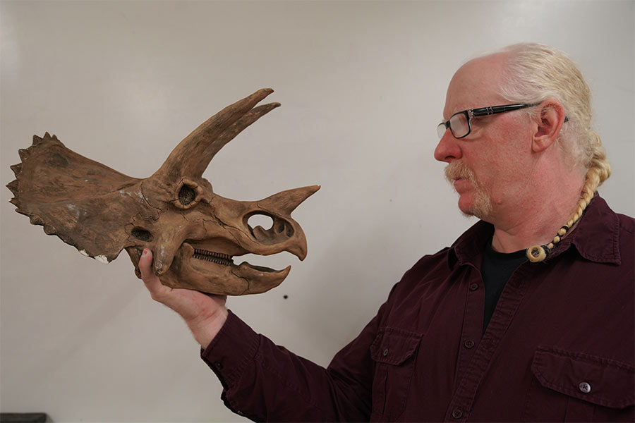 Darrin Pagnac, Ph.D., holds a model of a Triceratops skull.