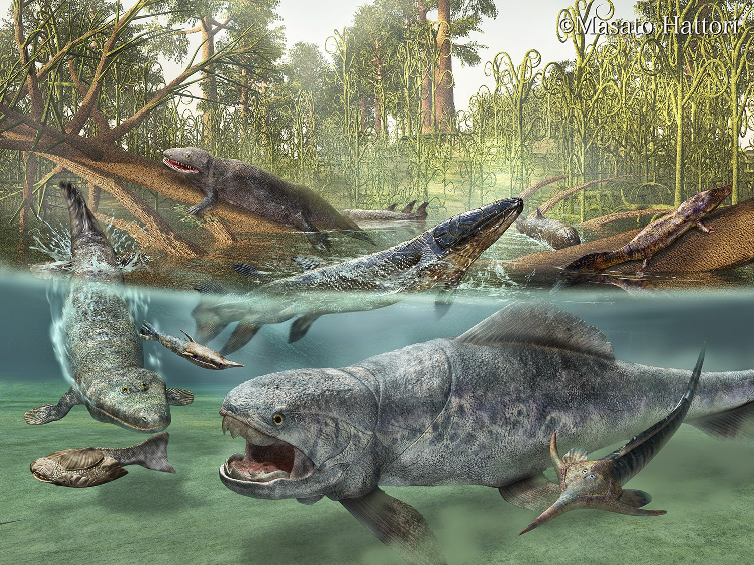 Devonian period--Prehistoric amphibians. The one looks very gatorish. By Masato Hattori