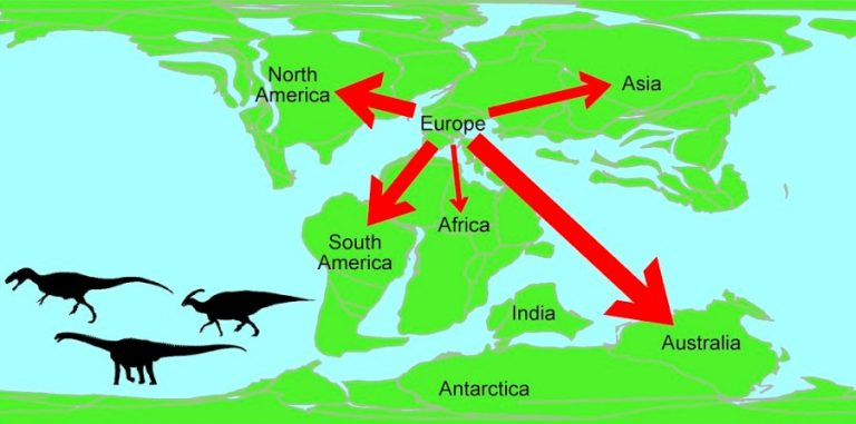 A map showing the migration of dinosaurs from Europe during the Early Cretaceous period (125-100 million years ago).