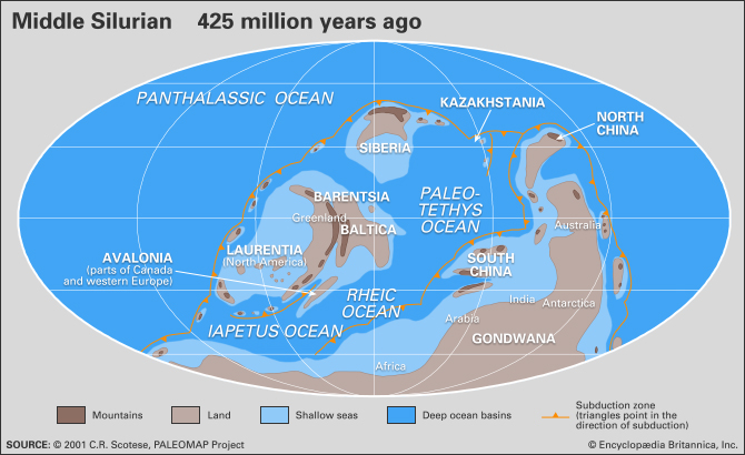Distribution of landmasses, mountainous regions, shallow seas, and deep ocean basins during the Silurian Period by Encyclopedia Britannica