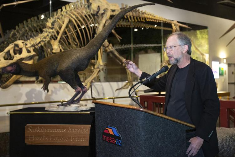 Douglas Wolfe, who co-discovered the bones of the latest dinosaur addition at the museum, talks about the creature's likely diet and other features.  Kimberly Carrillo/Tribune Staff Photographer
