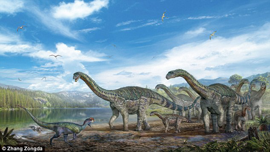 Experts have recreate the looks of the lizard-foot dinosaurs which left the tracks in Maotai