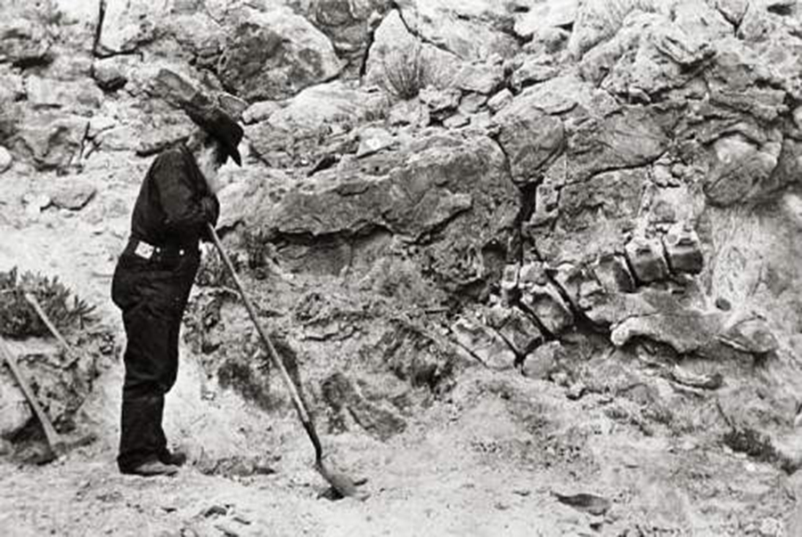 George A. Goodrich, leaning on a shovel, standing next to the original dinosaur