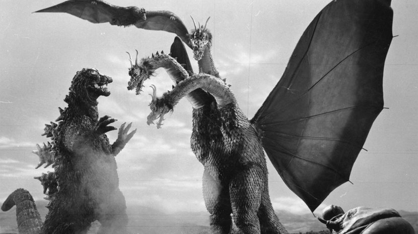 "Here Godzilla is battling his arch nemesis, King Ghidorah, a golden dragon with three heads, no arms, and giant wings, in 1964's ""Ghidorah, the Three-Headed Monster."" PUBLIC DOMAIN"