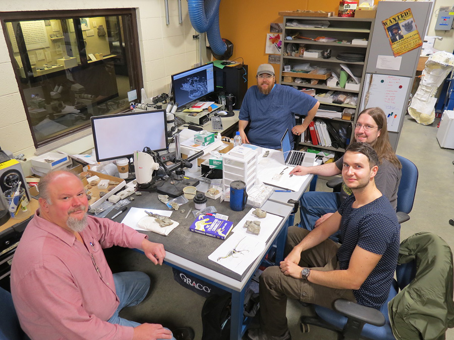 Researchers at the University of Wisconsin–Madison Geology Museum's Preparatory Lab, who helped describe Lori, discovered by paleontologists in 2001 in Wyoming. PHOTO COURTESY OF STUDY AUTHORS