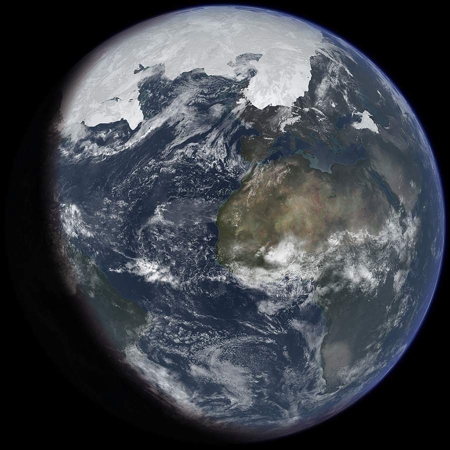 Artist's impression of Earth during the Last Glacial Maximum