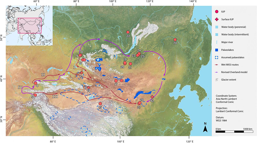 "Illustrated dispersal routes from the results of the Least Cost Path analysis: The three routes from the ""wet"" simulations and the single route from the ""dry"" simulation are presented together in conjunction with palaeoclimatic extents (glaciers and palaeolakes). Sites: 4. Obi-Rakhmat, 5. Shugnou, 8. Denisova, 9. Ust-Karakol, 10. Kara-Tenesh, 11. Kara-Bom, 12. Luotuoshi, 14. Gouxi, 15. Lenghu 1, 17. Chikhen Agui, 18. Tsagaan Agui, 19. Tolbor 4, 20. Kharganyn Gol 5, 21. Orkhon 1 & 7, 22. Makarovo 4, 23. Kandabaevo, 24. Varvarina Gora, 25. Tolbaga, 27. Shuidonggou 1, 28. Shuidonggou 9, 42. Yushuwan, 70. Shibazhan (75075). I. 'Altai' Route, II. 'Tian Shan' Route, III. 'Tarim' Route, IV. ""Revised Overland' Route. Base map raster is from naturalearthdata.com.  CREDIT Li et al, 2019"