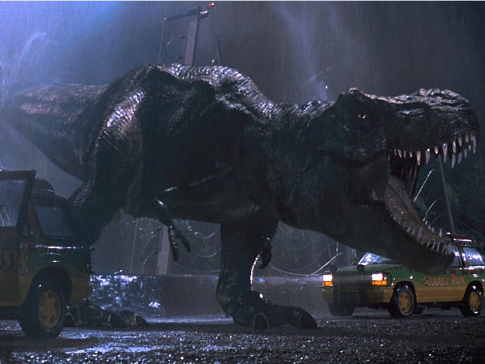 "In the 1993 movie, ""Jurassic Park,"" a Tyrannosaurus rex escapes its paddock. Universal Pictures"