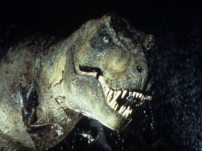 "In the 1997 movie, ""The Lost World: Jurassic Park,"" a T. rex corners people behind a waterfall. Universal"