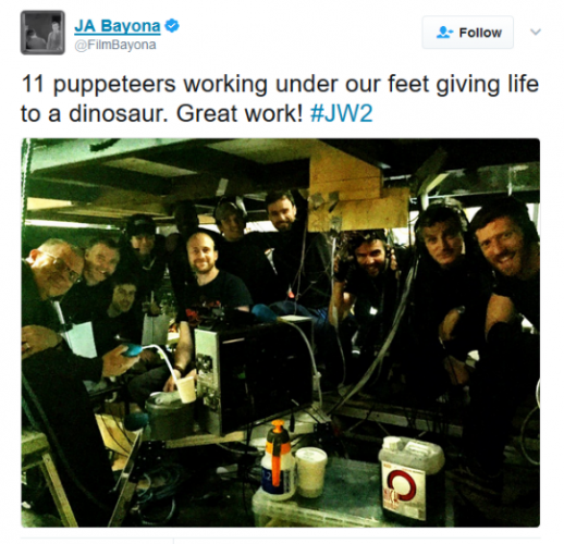 JURASSIC WORLD 2—director JA Bayona posted a photo emphasizing his promise to feature practical effects dinosaurs instead of CGI dinosaurs.