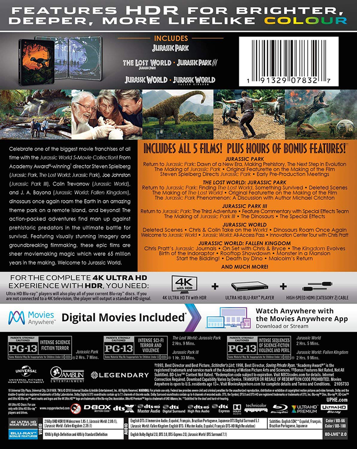 Jurassic World: 5 Movie Collection 4k Blu ray Back