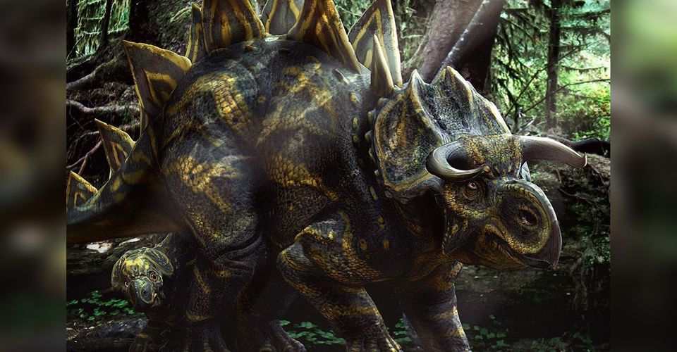 Concept art for Jurassic World confirms another hybrid dinosaur, known as the Stegoceratops, was originally planned to appear in the movie.