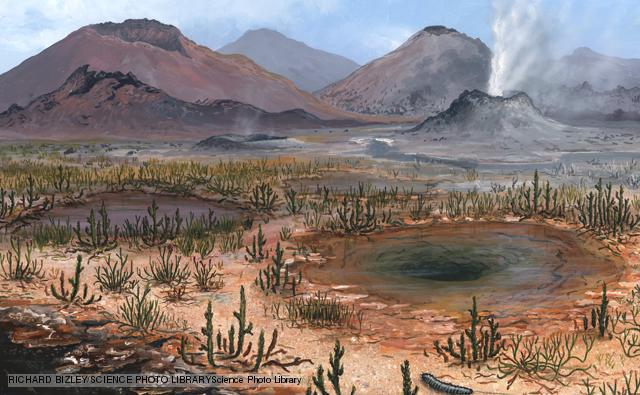 Late Devonian landscape. Artwork of wetland plants, and fumaroles during the ate Devonian Period (385 to 360 million years ago). The plants shown here include club mosses such as Aglaophyton. Bacterial mats (orange) surround the hot pools. A large millipede is at lower right.