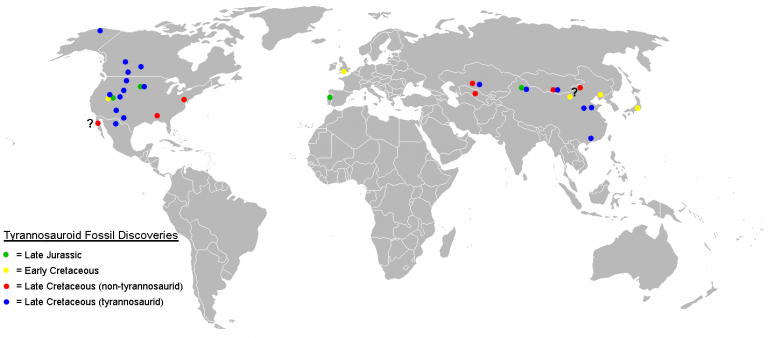 Map of tyrannosauroid fossil localities as of December 2007. I used the blank political map of the world commonly used on Wikipedia ((BlankMap-World.png). Keep in mind that the land masses would not have been in the same places they are today in the Jurassic and Cretaceous periods. Author: Sheep81