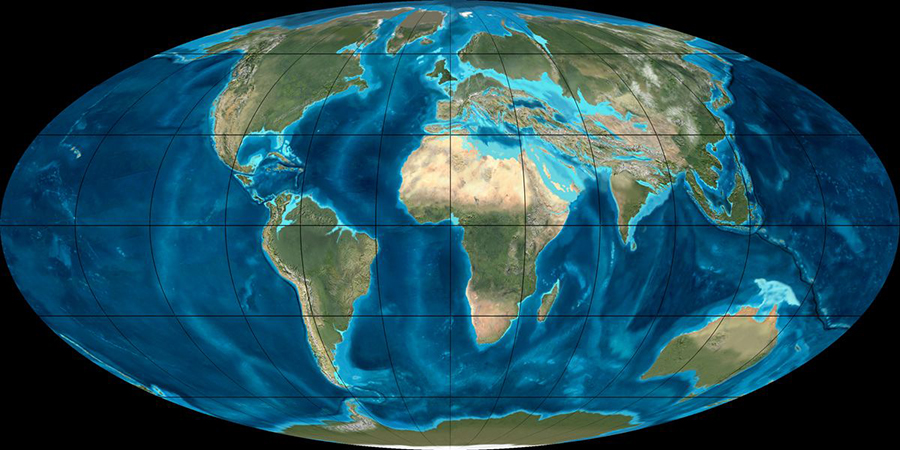 Mollewide [Oval-Globe] Plate Tectonic Map of the Earth from the Oligocene [35 Ma]